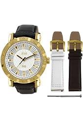JBW Men's JB-6225-C.2bandset 562 Pave Dial Gold-Plated Diamond Set Watch