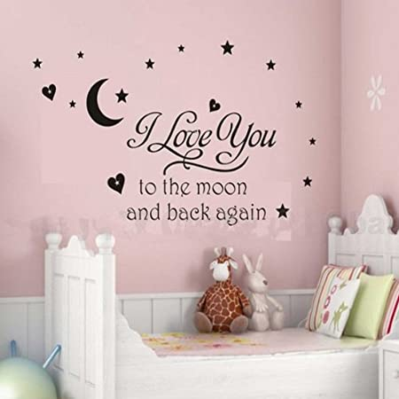 I love you to moon wall sticker decal removable nursery kids room art decor by familymall