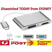 USB-C to VGA HDMI Adapter USB Type C (Thunderbolt 3 Compatible) to Dual Monitor Up to 4K USB C Display Hub for Apple MacBook Chromebook Pixel and More