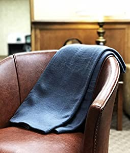 World's Best Cozy-Soft Microfleece Travel Blanket, 50 x 60 Inch, Navy, Great Travel Lounging at Home