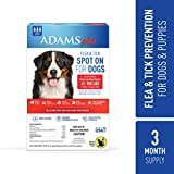 Adams Plus Flea and Tick Spot On for Dogs, Extra Large Dog Flea Treatment, 61-150 Pounds, 3 Month Supply