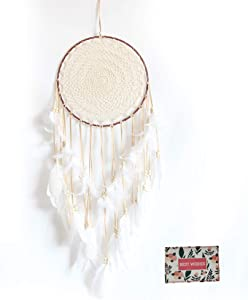 Malicosmile Large White Dream Catcher, Handmade Big Dream Catchers for Bedroom Wall Hanging Wedding Party Decor with a Greeting Card Gift (11.8 Inches in Diameter)