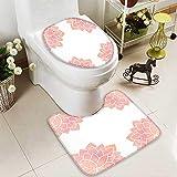 SOCOMIMI 2 Piece Toilet mat Set Petals Lotus Flower Meditation Yoga Spiritual Flora Beauty Artwork Coral Light Pink 2 Piece Shower Mat Set