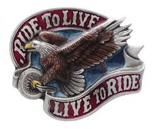 Live To Ride/Ride To Live W/ Eagle -Biker Belt Buckle (Eagle Buckle Ride)