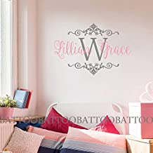 """BATTOO Baby Girl Monogram Wall Decal Name Nursery Damask Vinyl Sticker Initial Frame Wall Sticker Vinyl Lettering Girl Name Decals(slate gray+soft pink, 22""""h x34""""w)"""