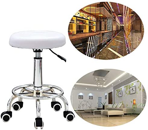RDFlame Rolling Stool Office Stool Work Stool Swivel Stool With 5 Wheels , Height Adjustable, Diameter 33 cm, White