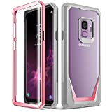 Galaxy S9 Case, Poetic Guardian [Scratch Resistant Back] [360 Degree Protection] Full-Body Rugged Clear Hybrid Bumper Case with Built-in-Screen Protector for Samsung Galaxy S9 Pink
