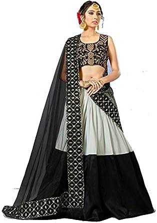 fdfe7a8e454 Royal Fashion Hub Latest Designer Party Wear Women s Black   White Tapeta  Sil Attractive Indo-Western Half Saree  Amazon.in  Clothing   Accessories