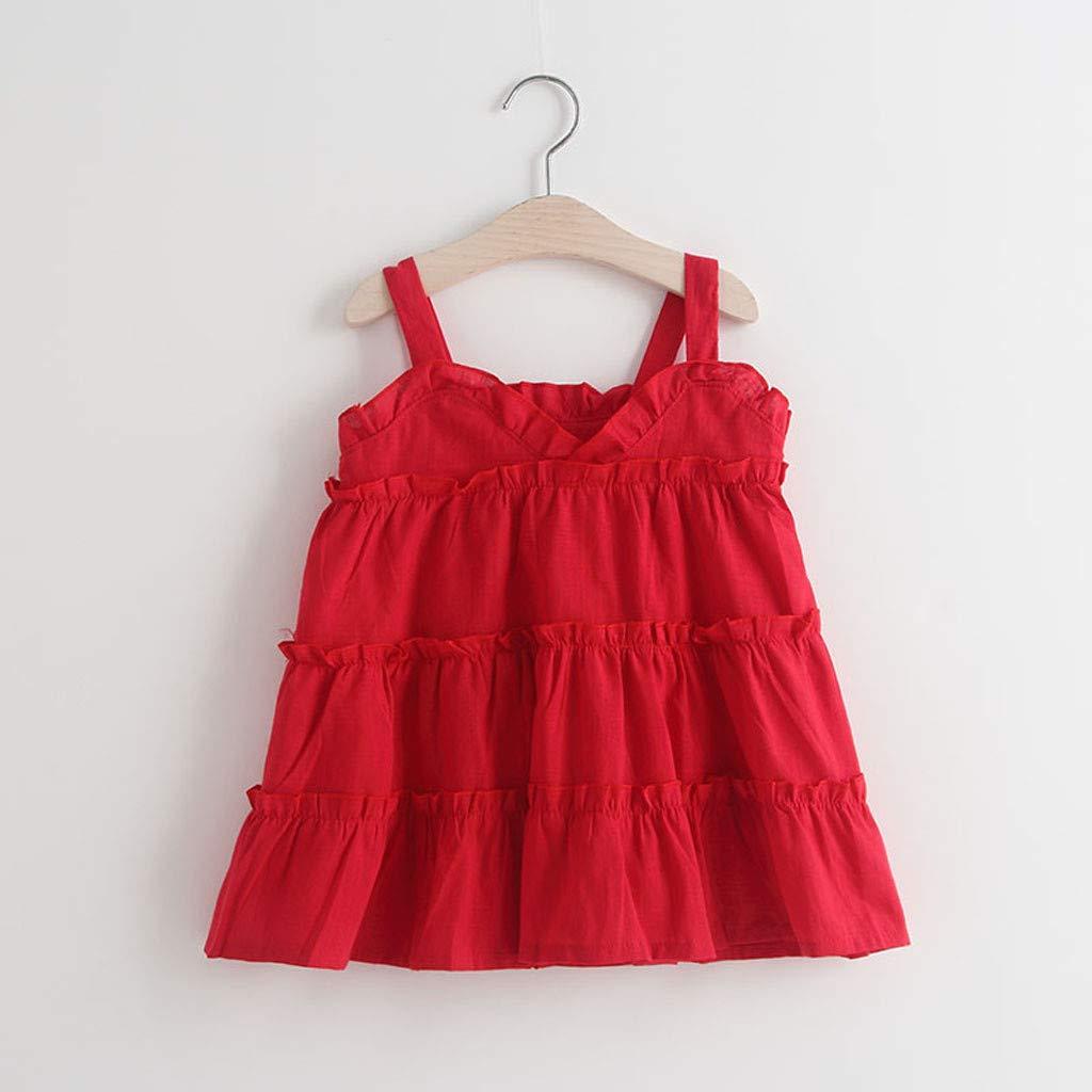 HCFKJ Ropa De Bebe Toddler Baby Kids Girls Solid Ruffles Slip Slip Dress Ropa Casual