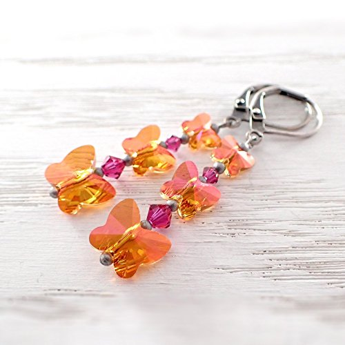 Colorful Orange and Pink Butterfly Lever Back Earrings made with Swarovski Crystals