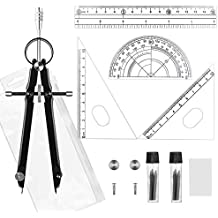 WXJ13 Math Tools Compass Set and Ruler Set, Precision Compass with Lock, Refill, Spare Parts, Ruler, Set Square, Protractor, Storage Bag, Set of 12