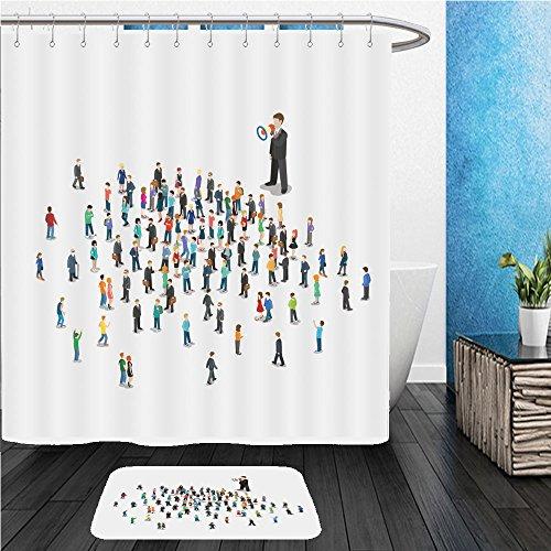 Beshowereb Bath Suit: ShowerCurtian & Doormat flat isometric promoter with loudspeaker talking to micro people vector illustration d isometry 534761053 Angle Loudspeaker