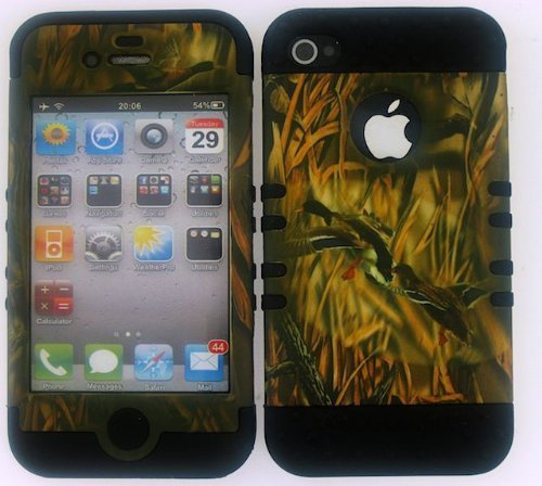 - Apple Iphone 4s 4 4G Black Hybrid Impact Hard Protector Case With Rubber Silicone Cell Phone Cover Skin Faceplate