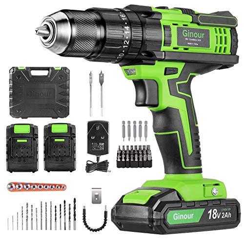 Cordless Drill Driver, Ginour 18V Combi Drill, Hammer Drill 20+3 Torque, 66 Accessories, 2Pcs 2000mAh Lithium Batteries…