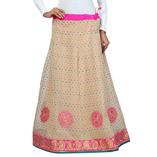 Indian Handicrfats Export Admyrin Women Beige Chanderi Butti Skirt