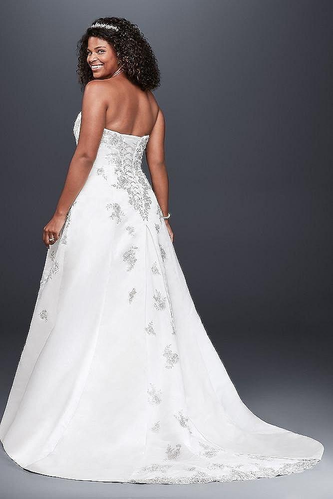 Plus Size Extra Length A Line Side Drape Strapless Wedding Dress