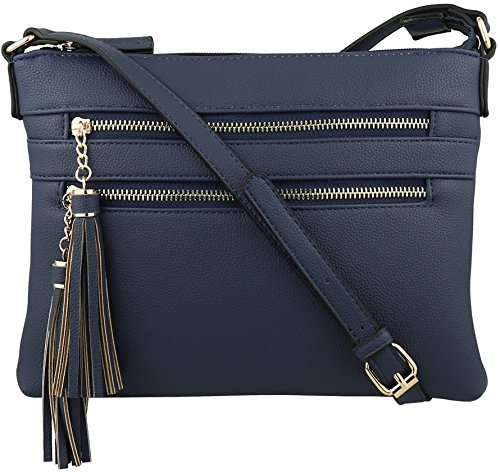 B BRENTANO Vegan Multi-Zipper Crossbody Handbag Purse with Tassel Accents (Navy(N))