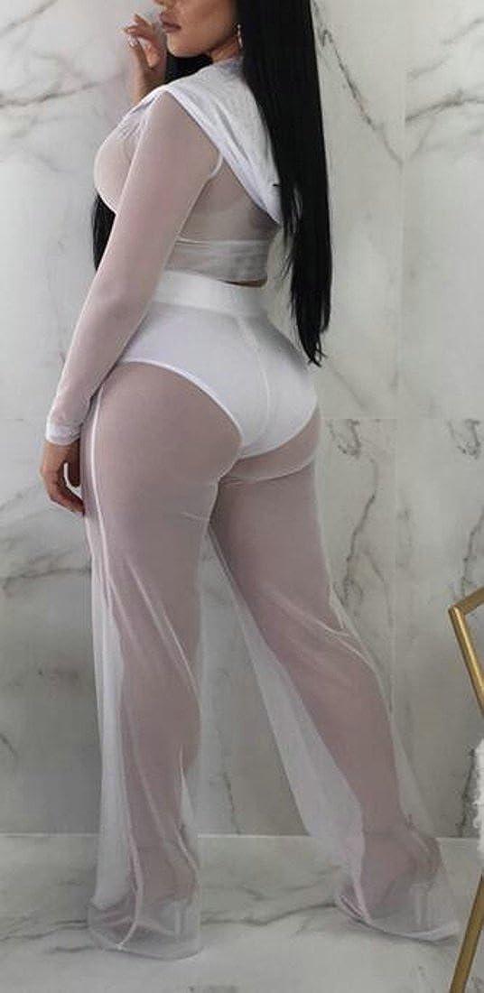 YULEgowinner Womens Cropped Coat See Through Activewear Pants Long Sleeve Palazzo Jumpsuit Tracksuit Set