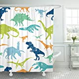 Emvency 72''x78'' Shower Curtain Waterproof Green Dino Pattern For Textiles Original Design With Rex Dinosaur Grunge For Boys Home Decor Polyester Fabric Adjustable Hook