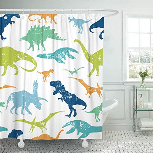 Emvency 72x78 Shower Curtain Waterproof Green Dino Pattern For Textiles Original Design With Rex Dinosaur Grunge For Boys Home Decor Polyester Fabric Adjustable Hook