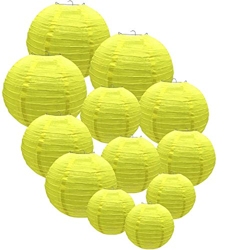 Yellow Lanterns Decorative Lantern for Both Indoor and Outdoor Events Like Valentine's Day Christmas Birthday Reunion Baby Shower Wedding 12 Packs Waterproof with Different Sizes [Yellow] -