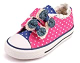 Legend E.C Girls' Canvas Shoes Princess Shoes with Cute Bowknots (9.5, Rose)