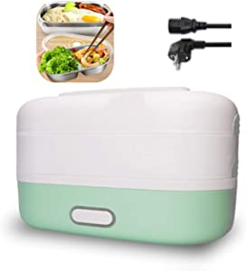 Self Cooking Electric Lunch Box,Electric Heating Bento Lunch Box,Portable Cooking Steaming Lunch Box 1.2L,Cook Rice and Food Warmer Heating,for Office,Home and School,110V 350W(light green)