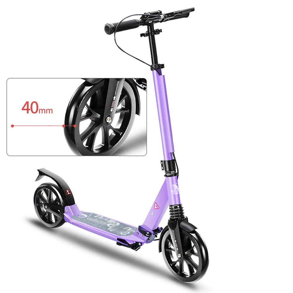 FDSjd Scooter Adult Two-Wheeled Adult Scooter Work to Step Big Wheel Folding Scooter (Color : Purple)