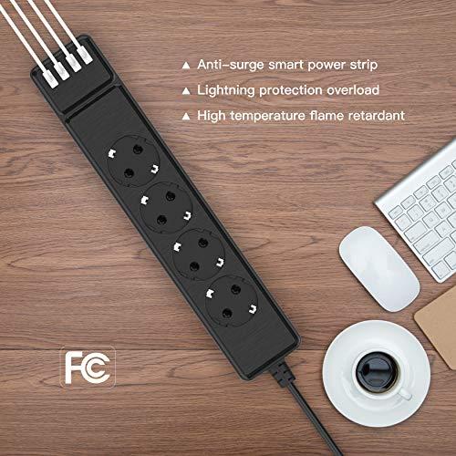 Ciabatta Multipresa, Multipresa Elettrica Protezione (10A/2500W) con 4 Prese Individuali e 4 USB Intelligente (2,4A), Multipresa da Scrivania per Smartphone,Casa,Ufficio,Nero,2m