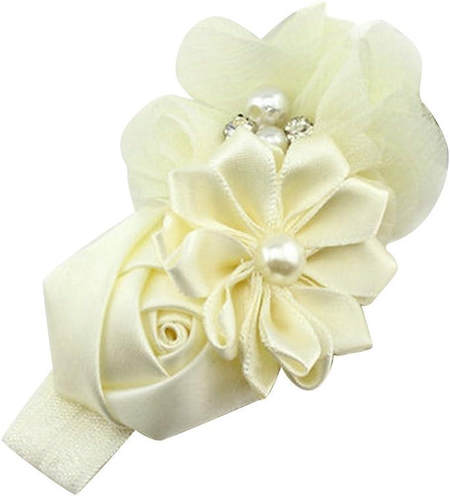 Sanwood/® Baby Girl Headband Infant Chiffon Headdress Faux Pearl Hairband