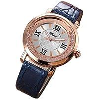 Womens Watch,Howstar Luxury Women Leather Stainless Steel Rhinestone Analog Quartz Watches