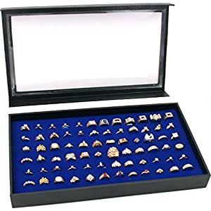 Amazon.com: 72 Ring Blue Jewelry Box Display Case Magnetic