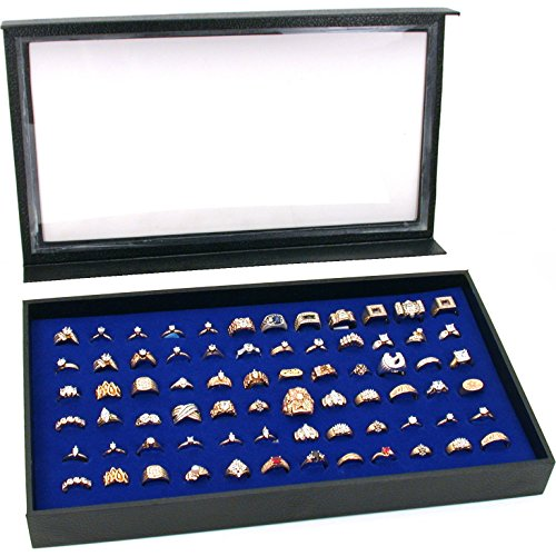Display Case 72 Blue Ring - FindingKing 72 Ring Blue Jewelry Box Display Case Magnetic Lid New