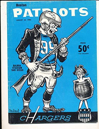 - 8/10 1963 Boston Patriots vs San Diego Chargers football program