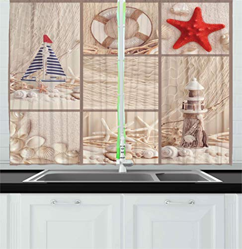 Ambesonne Nautical Kitchen Curtains, Marine Sail Boat Lifebuoy Starfish Lighthouse Sand Shell Sea Life Collage Design, Window Drapes 2 Panels Set for Kitchen Cafe, 55W X 39L Inches, Tan Red Blue (Lighthouse Kitchen Curtains)