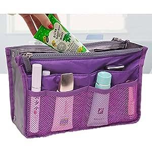 Portable Multiple Pockets Zipper Makeup Storage Bag Cosmetics Handbag Organizer Bag - Purple