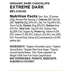 Equal Exchange Organic Extreme Dark Chocolate Bar, 2.8 Ounce (Pack of 12) 1 Contains 12 packs of 2.8 Oz Chocolate bars TASTE: Rich dark chocolate car extreme dark 88% Cacao. Vegan, Soy & Gluten Free Crafted Soy & Gluten Free
