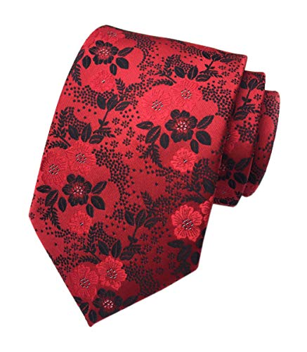 Secdtie Mens Red Black Suit Tie Floral Woven Silk Paisley Party Necktie Gift B15