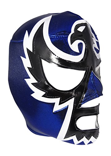 HALCON NEGRO Adult Lucha Libre Wrestling Mask (pro-fit) Costume Wear - Blue by Mask Maniac