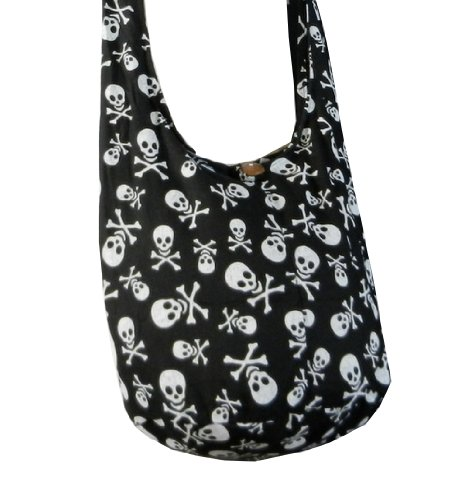 Black Messenger Bag Punk Skull in Sling Crossbody Hobo Cotton Thai Rock Purse SKS3 BTP Hippie Small T6xqwvwR