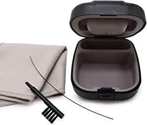 Universal Small Carry Case with Cleaning Kits for PSAPs Hearing aid (Black)