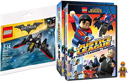 Lego Justice League Trickster Figure & Batman Plane Toy Builder & JL Attack of the Legion of Doom DVD Movie Combo Animated Official Hero Adventure