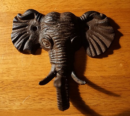 (Cast Iron Elephant Trunk Up Hook Rustic Wild African Safari Home Decor)