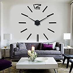 HIPPIH Frameless DIY Wall Clock Large 3D Sticker Wall Decoration Clocks for Living Room/Bedroom/Office