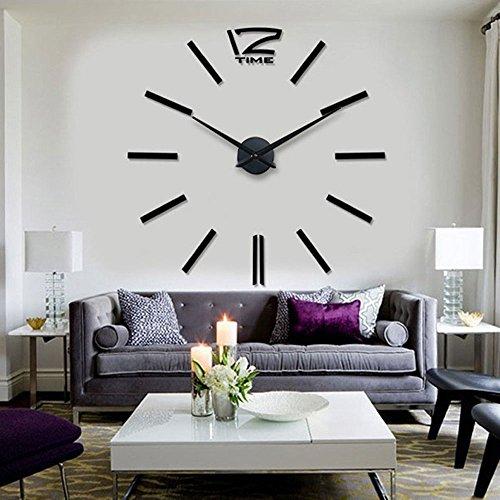 HIPPIH Frameless DIY Wall Clock Large 3D Sticker Wall Decoration Clocks for Living - Figure Stick Hand
