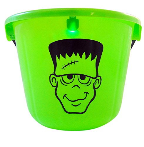Flashing Frankenstein Halloween Bucket Trick Or Treat Light Up Kids Pail