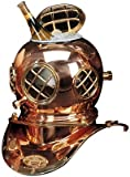 "12"" Polished Brass & Copper Mark V Dive Helmet Ice Bucket"