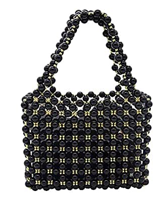 Miuco Women's Vintage Style Pearl Tote Bags Evening Clutch Wedding Purse Black