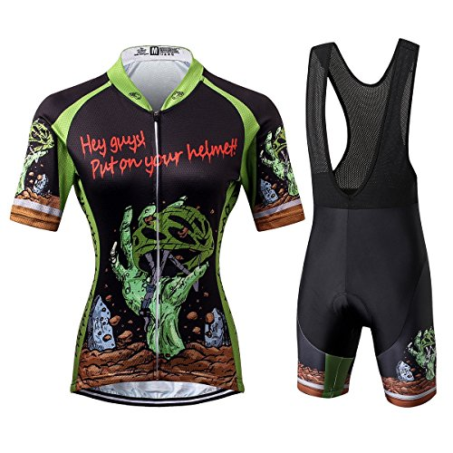 Thriller Rider Sports Womens Horror Halloween Outdoor Sports Mountain Bike Short Sleeve Cycling Jersey and Bib Shorts Suit Small ()