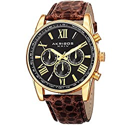 Akribos XXIV Men's AK864YGBR Two Time Zone Gold Tone and Brown Leather Strap Watch